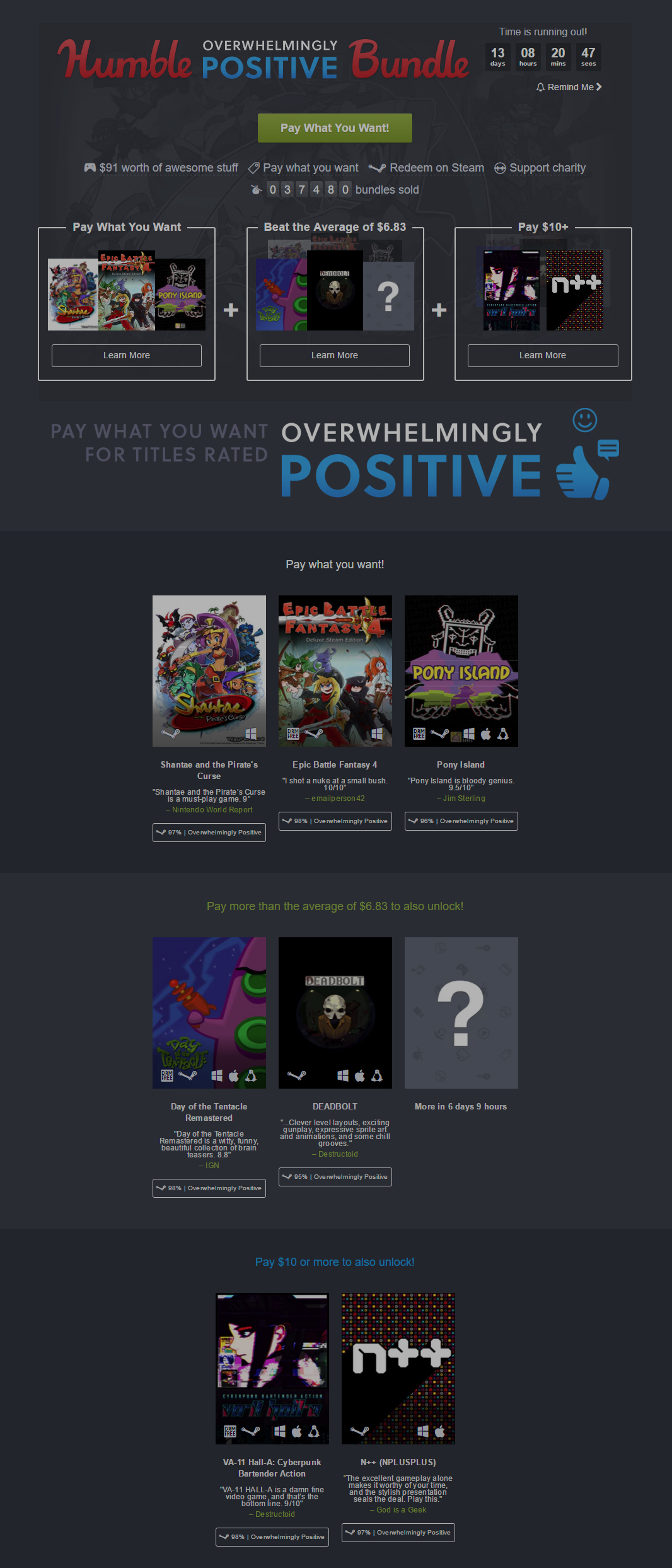 Humble Overwhelmingly Positive Bundle pay what you want and help charity .png