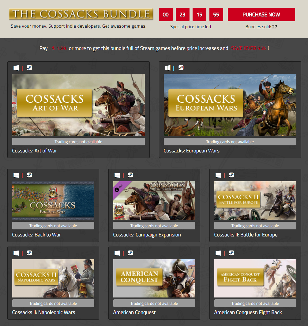 IndieGala The Cossacks Bundle of Steam games.png